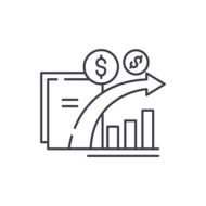Dynamics of financial growth line icon concept. Dynamics of financial growth vector linear illustration, sign, symbol