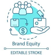 Brand equity concept icon. Brand management idea thin line illustration. Added value of company products or services. Strategy analysis. Vector isolated outline drawing. Editable stroke